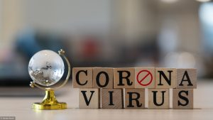 Concept Coronavirus. Prevent or stop the spread of the corona virus worldwide. Letters on the wooden floor resting on a wooden table. Tourists stop travel to travel from China. And related country